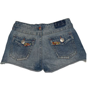 TRUE RELIGION Blue Jeans Beaded Denim Shorts 30